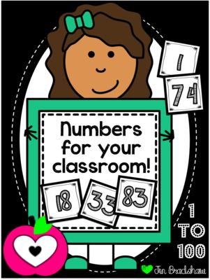 {{FREEBIE}}  Numbers 1 to 100 Cards ~ Calendar ~ Math Centers ~ Organization ~ Cubbie Labels. Personalize as you wish.