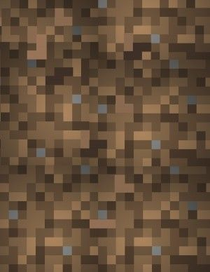 Free Minecraft wrapping paper pattern in brown dirt block to use as a Minecraft wallpaper or as a printable pattern for Minecraft paper craft projects.