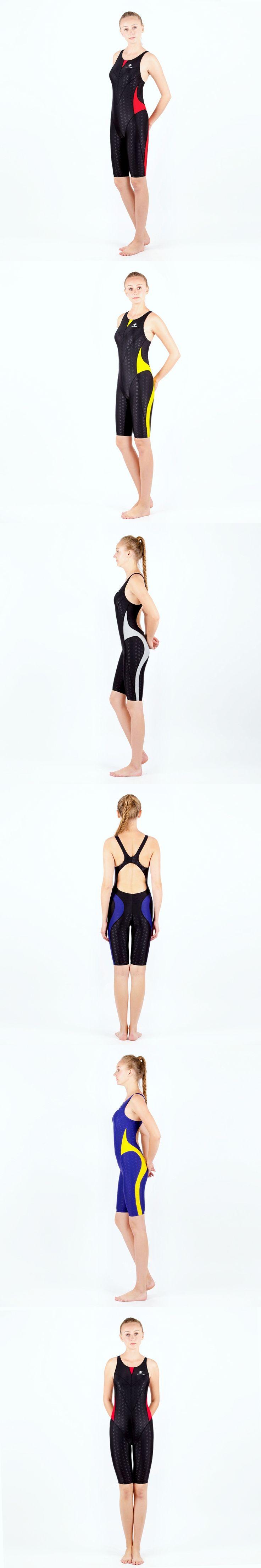Professional One Piece Competition Racing Swimsuit Female Knee Bodysuit Quick Dry Long Boxer Shorts Plus Size  Bathing Suit