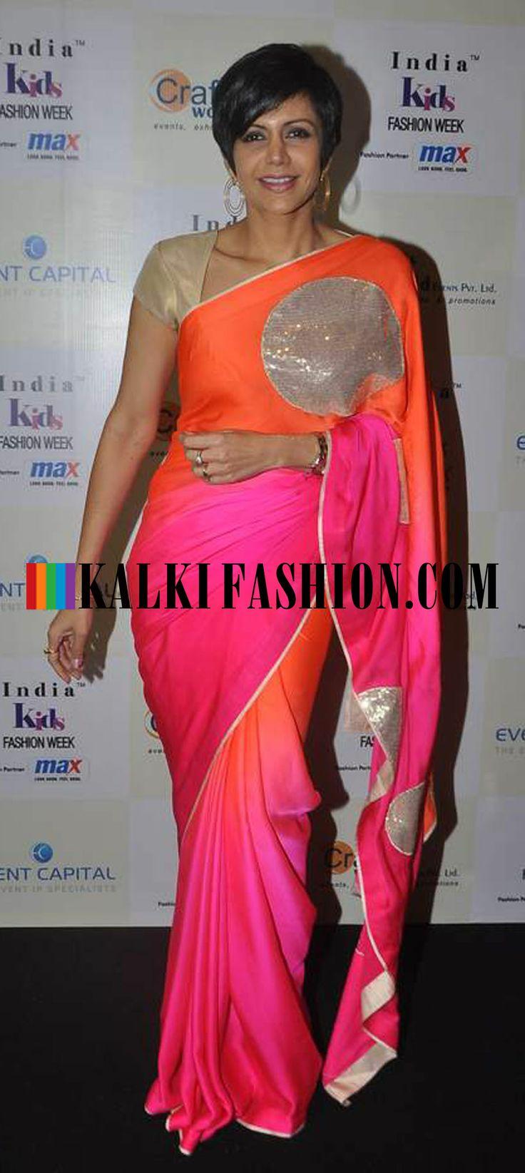 http://www.kalkifashion.com/ Mandira Bedi in a pink and orange shaded saree attend the Kids Fashion Week