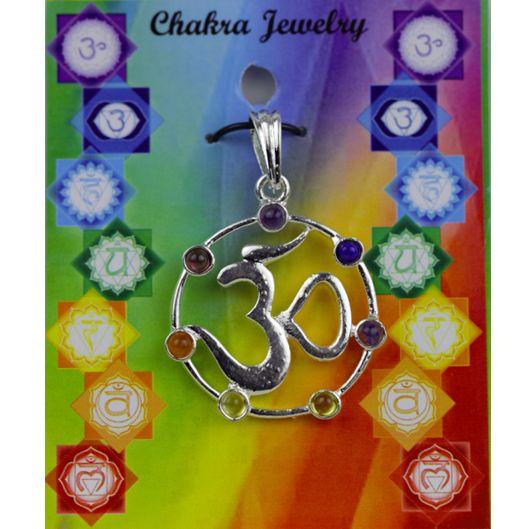 OHM hanger met 7 chakra stenen messing verzilverd - 3.5 cm - Meditatie