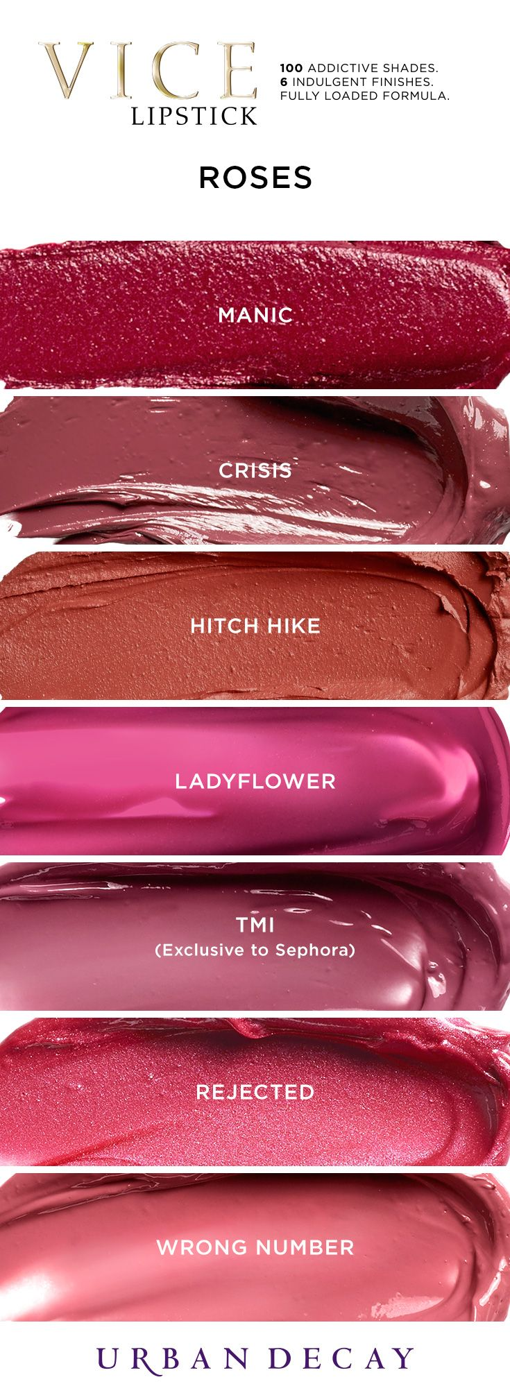 Yes Way, Rosé! Get a taste of these Vice Lipstick shades now at Urban Decay. #LipstickIsMyVice