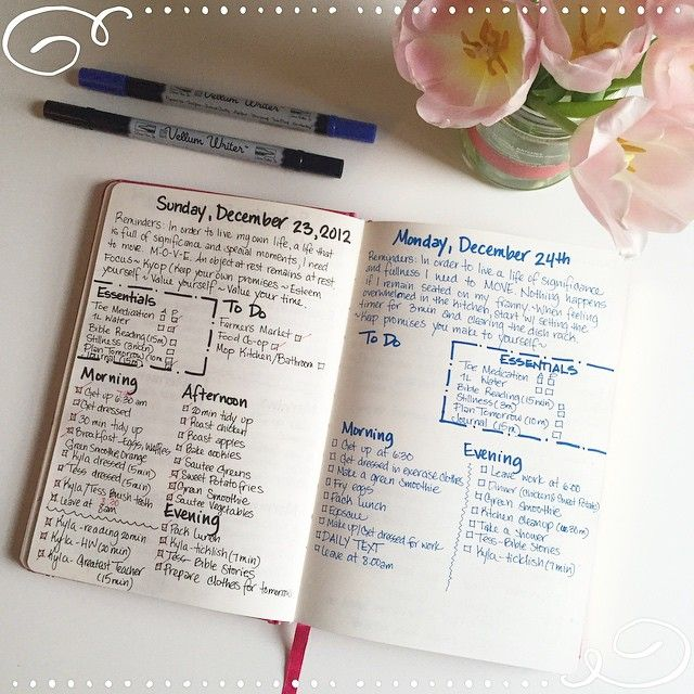Day per page bullet journal