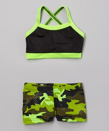 Look at this #zulilyfind! Black & Lime Green Sports Bra & Camo Shorts - Girls by Elliewear #zulilyfinds