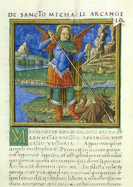Manoscritto miniato della Leggenda aurea con l'immagine di san Michele arcangelo ( 1480 )