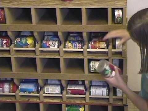 Marvelous Rotating Food Storage Plans | Self Rotating Can Rack, Food Storage Ideas