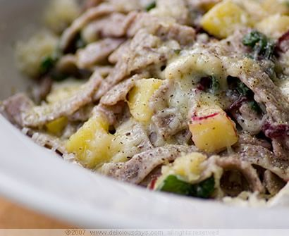 pizzoccheri della Valtellina (Buckwheat pasta smothered in assorted melted cheeses and a rich butter sauce)