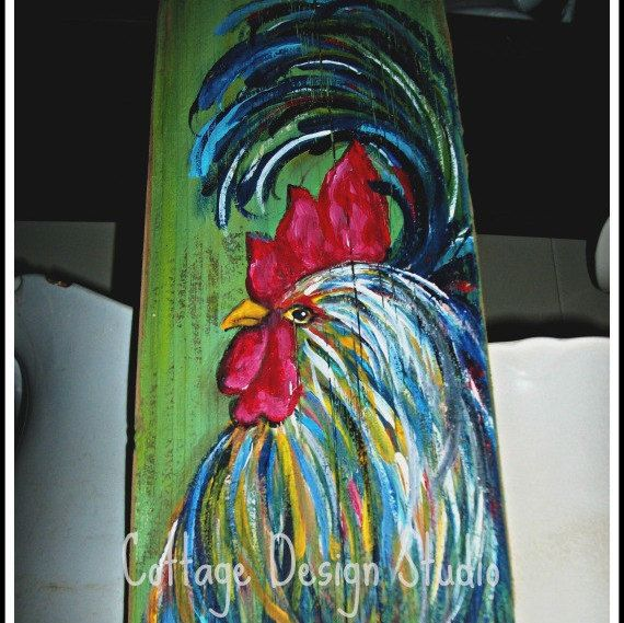 Country chic rooster sign rooster painting by CottageDesignStudio 28.00 + shipping rooster sign,