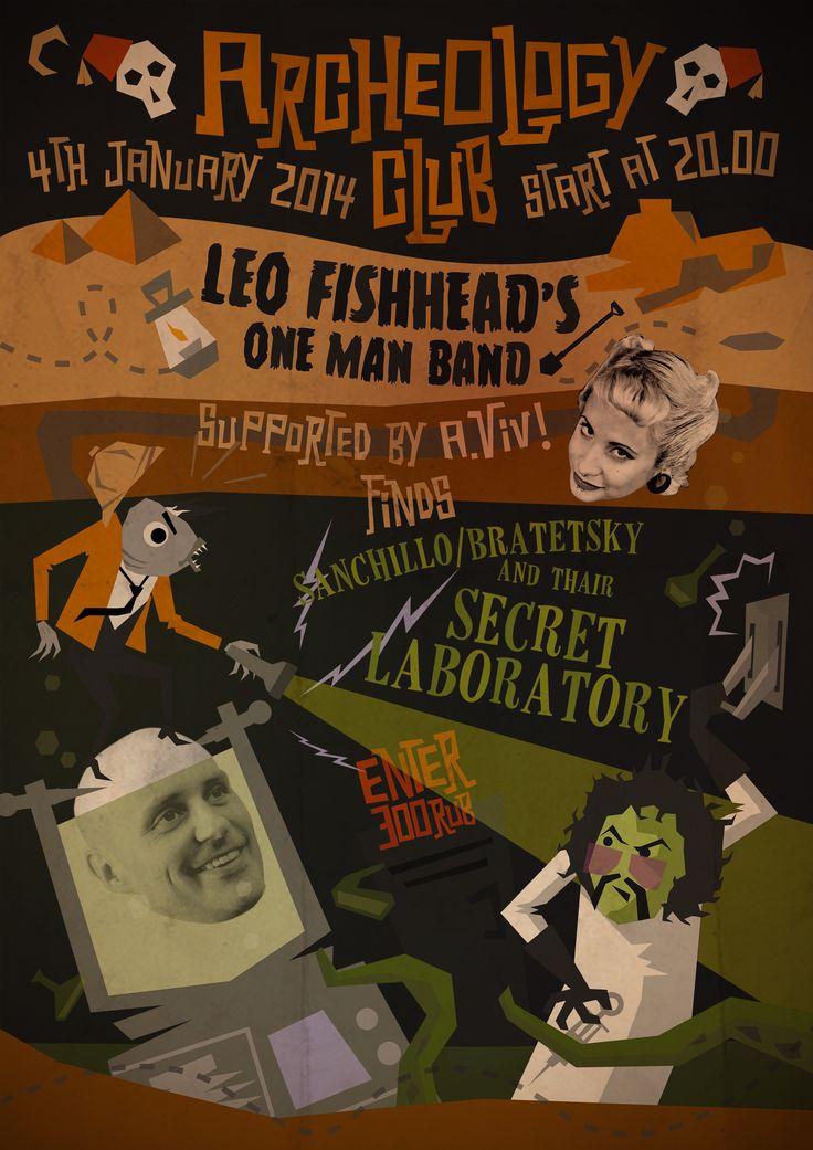 Leo Fishhead Gig Poser. Archeology Club: Leo Fishhead One Man Band finds Sanchillo/Bratetsky & their Secret Laboratory Vol 1. Garage Blues Trash Psychobilly