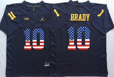 Michigan Wolverines 10 Tom Brady Navy USA Flag College Jersey