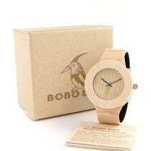 Bobo Bird H12 Pine Wooden Watches for Women Men Wood Dial Quartz Watch Genuine Leather Grain Straps Relojes Watch Brand Design(China (Mainland))