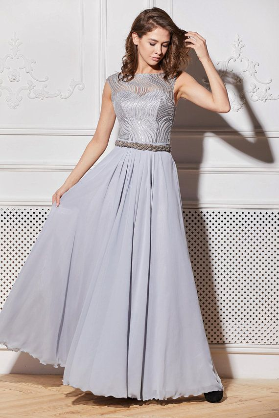 586d2a314aa Gray Evening Dress