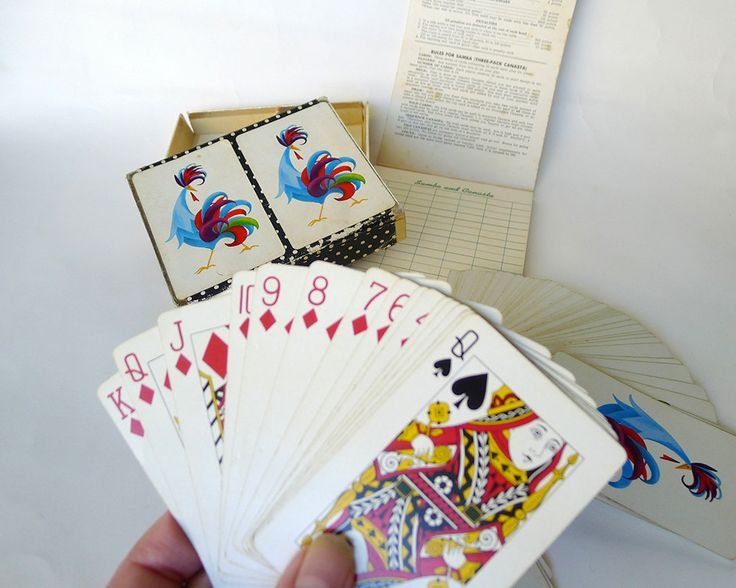 Vintage Mid Century Modern Samba and Canasta Game Set Two Packs of Playing Cards and Canasta Scoring Book Rules Samba (Three Pack Canasta) - pinned by pin4etsy.com