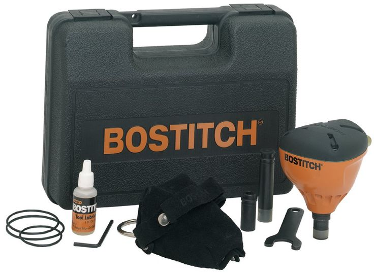 BOSTITCH PN100K Impact Nailer Kit. Palm nailer kit; ergonomic design; magnetic nose;. Ideal for driving common bulk nails-inch confined areas or for nailing off metal connectors and joist hangars. Hardened steel nose for durability; leather glove. Includes nailer, standard nose, finish nail nose, large bore nose, leather glove, nose wrench, hex wrench, lubricant, spare O-rings. 5.25 by 3.5 by 4.13-inches; 2.9-pounds; 7-year limited warranty.
