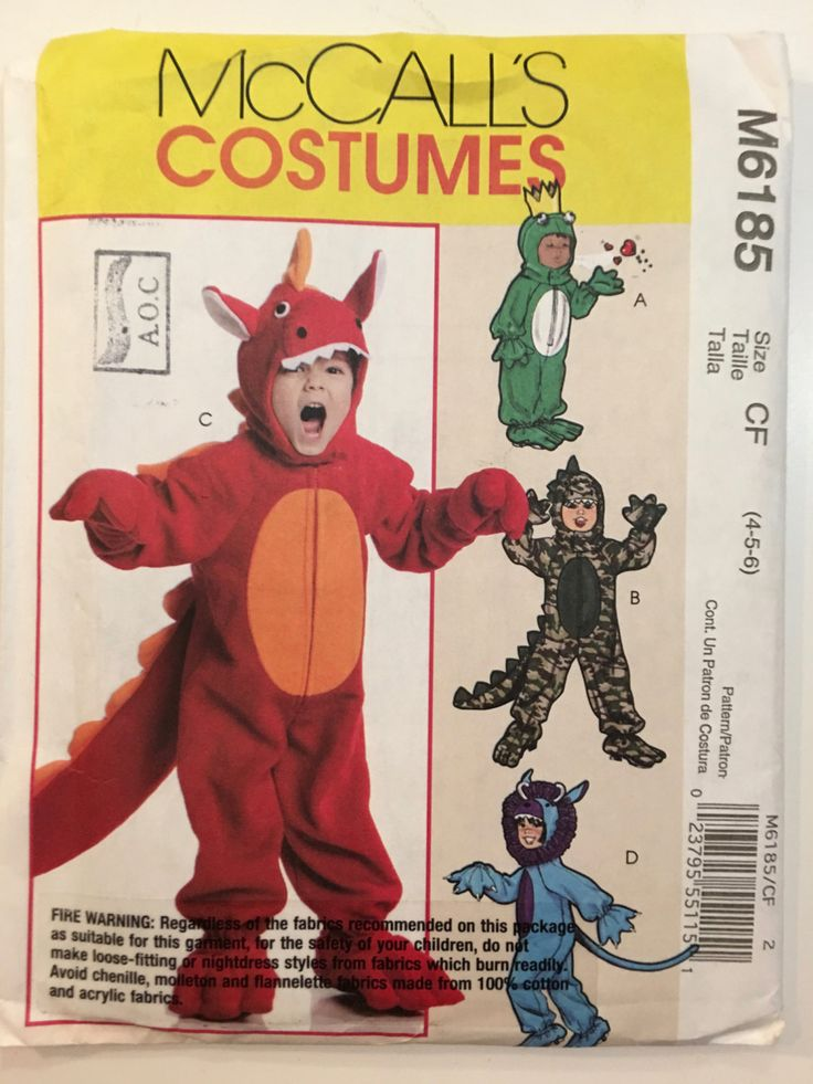Kids McCalls UNCUT M6185 Pattern Costumes: Makes Monster, Dinosaurs, Dragon, Frog, and More Sizes 4, 5, 6 Out of Print by weseatree on Etsy