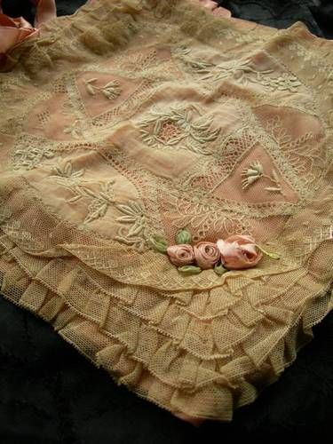 Antique tambour tulle lace silk lingerie case