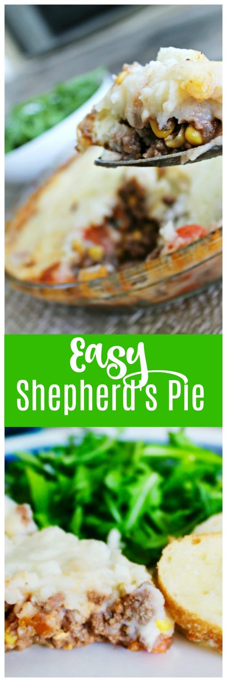 Simple Shepherds Pie recipe with hamburger, carrots, corn and potatoes baked into a casserole that is sure to be a classic weeknight favorite.    #easy #shepherds #pie #recipe #recipes #casserole #stpatricksday