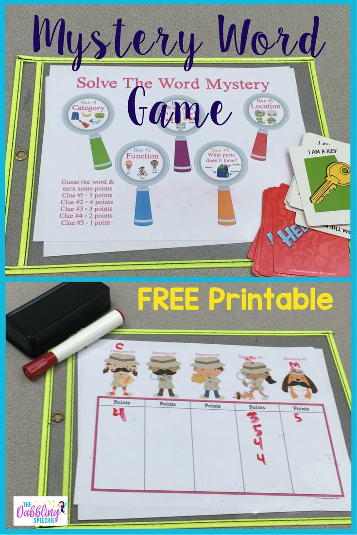 The Dabbling Speechie: Mystery Word Game! Word games for kids that will get them excited about describing nouns! Pinned by SOS Inc. Resources. Follow all our boards at pinterest.com/sostherapy/ for therapy resources.