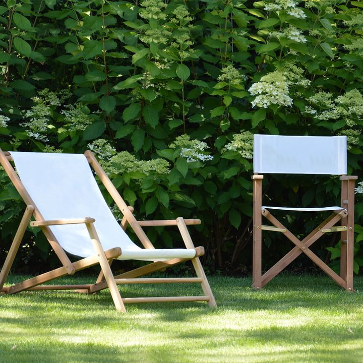 Jan Kurtz Maxx Deckchair Teakholz Bezug Kunststoffgewebe Weiss