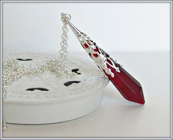 Crystal necklace, Dark red glass prism pendulum, Gothic necklace, Victorian necklace, Crystal pendant, Fantasy necklace