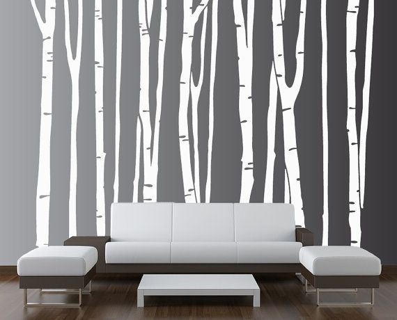 Large Wall Birch Tree Decal Forest Kids Vinyl Sticker Removable (9 trees) 9 foot tall 1109 via Etsy