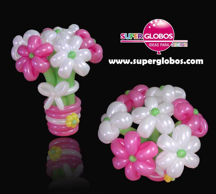 Ramo de flores con globos/Flowers balloons bouquet