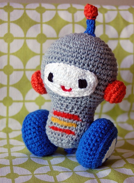 Crochet Star Pattern Amigurumi : Amigurumi crocheted robot I made it myself Pinterest ...