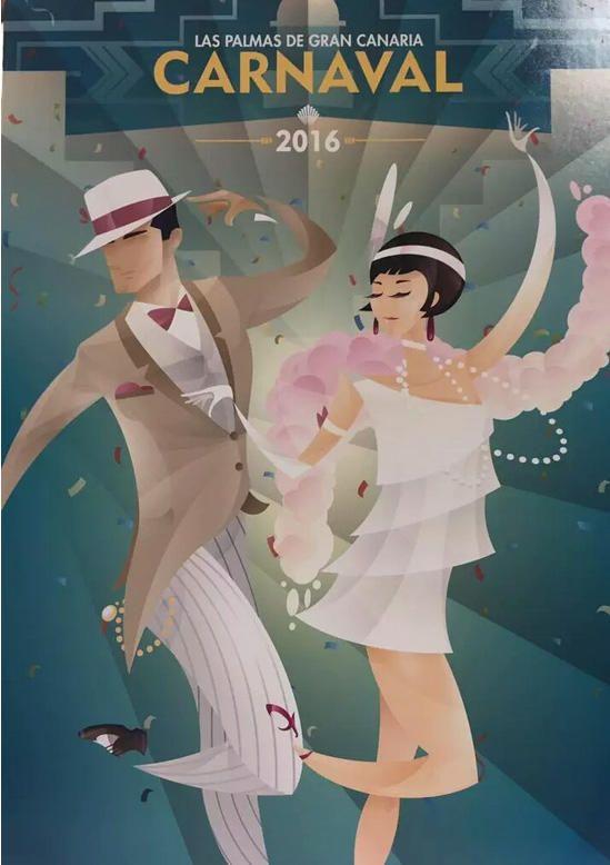 Cartel del Carnaval de Las Palmas 2016. Autor: Waldemar Lemanczyk. Tema: Los locos años 20