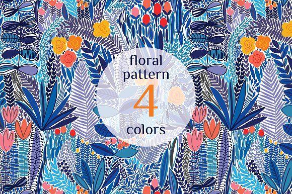 Exotic flower pattern by Maria Galybina on @creativemarket
