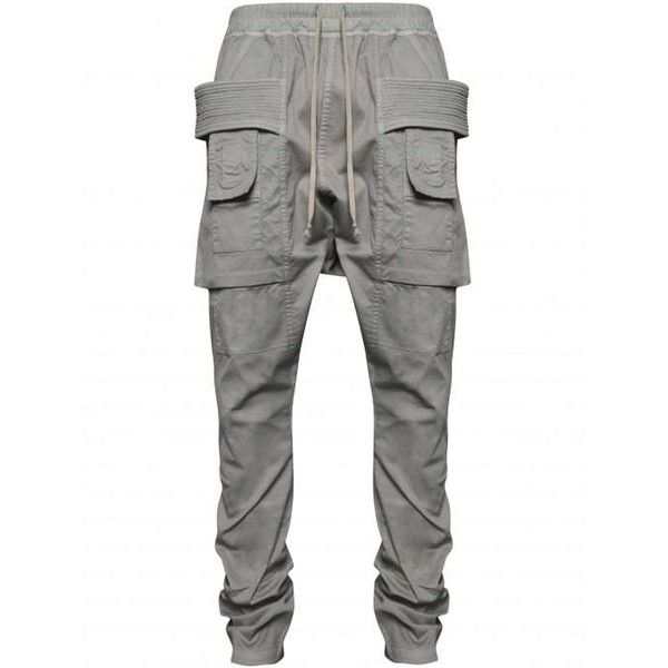 Rick Owens DRKSHDW Grey Hustler Cargo Pants | HERVIA SS16 Menswear ($414) ❤ liked on Polyvore featuring men's fashion, men's clothing, men's pants, men's casual pants, mens gray dress pants, mens grey dress pants, mens summer pants, mens grey cargo pants and mens cargo pants