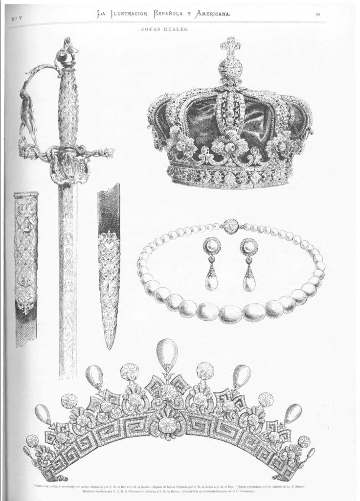 Regalos de Boda de Alfonso XII a Dña. Maria de las Mercedes  El Rey regaló a la novia la corona real, los pendientes y el collar de perlas. María Mercedes obsequió al Rey con la espada de honor que vemos a la izquierda de esta imagen. La diadema que aparece abajo fue un regalo de la princesa de Asturias a la Reina