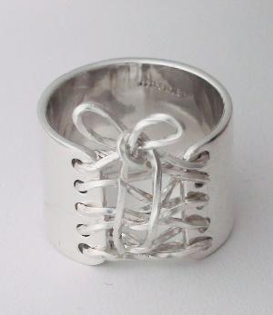 Sterling Silver Wide Band Corset Ring.  SecretAura.