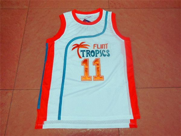 SexeMara Flint Tropics Semi Pro Movie Throwback Basketball Jerseys,#11 Ed Monix White Stitched Movie  jersey Free Shipping