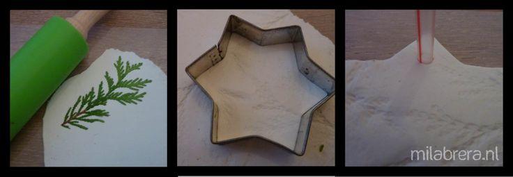 * Maak afdrukken in de klei van takjes en steek de vormen uit