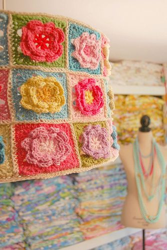 a crocheted lampshade...