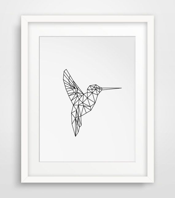 Printable Art Geometric Animal Hummingbird by MelindaWoodDesigns