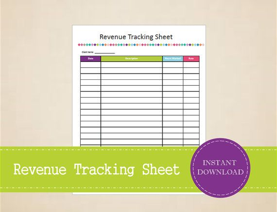 Revenue Tracking Sheet for Consultants  by MBucherConsulting