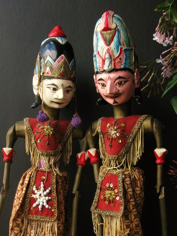 Vintage Puppets Handmade Wayang GolekWood rod by BlackDoveVintage on Etsy $89.00