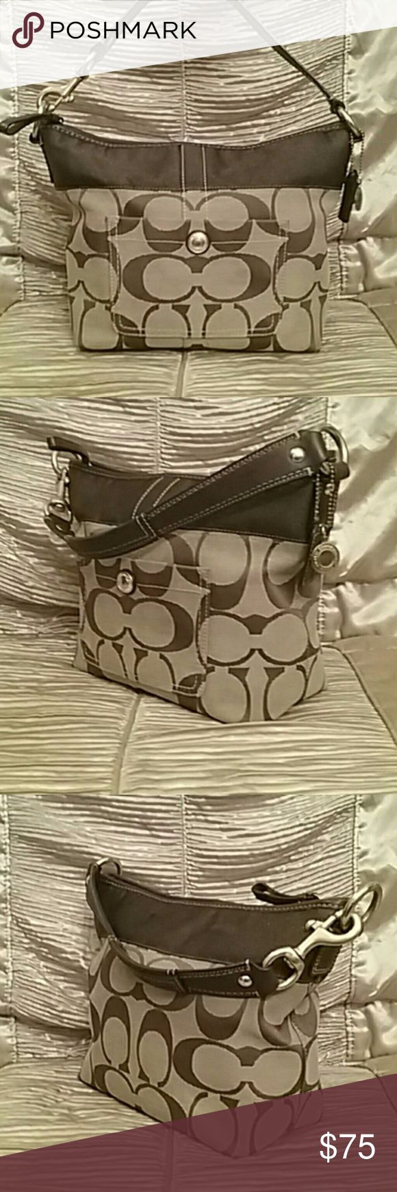 Coach Legacy Large C's Signature Handbag #11957 Authentic Coach Legacy Purse. Leather trim, classic coach signature canvas, excellent condition, Beautiful handbag!  Smoke and pet free home. Coach Bags