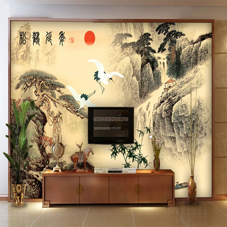 Asian wall murals vintage wallpaper mural wallpaper tv for Asian mural wallpaper