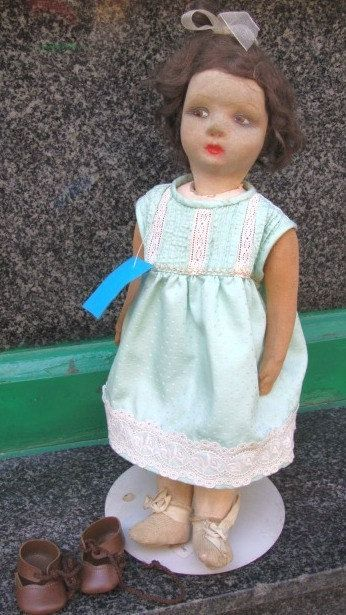 Vintage Fabric Doll Handpainted paper mache by FashionanticVintage
