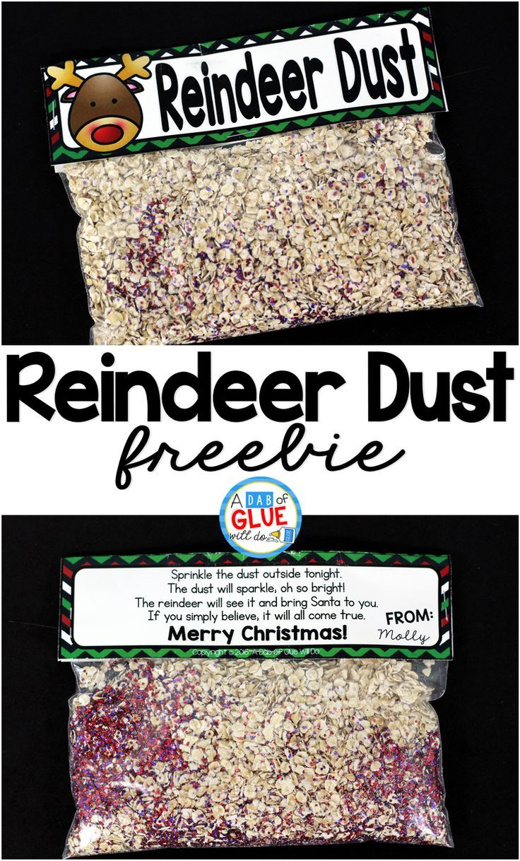 Reindeer Dust! Fun DIY Christmas gift for kids. Perfect for preschool, kindergarten, and first grade.