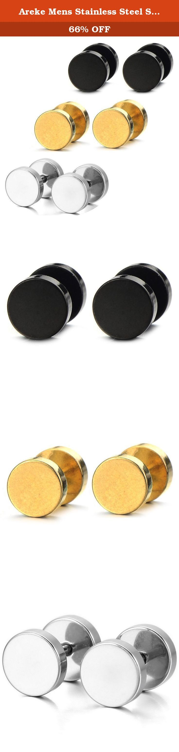 Areke Mens Stainless Steel Screw Stud Earrings Unisex Womens Ear Plugs Tunnel Jewelry 3 Pairs Color Black Gold Silver. Areke Mens Stainless Steel Screw Stud Earrings Unisex Womens Ear Plugs Tunnel Jewelry 3 Pairs 3 pairs a set,silver tone gold tone and black,you could have a different color each day. Why choose stainless steel for jewelry High quality stainless steel is highly resisted to rust, corrosion and tarnishing. Stainless steel is a perfect choice for those who are allergic to…