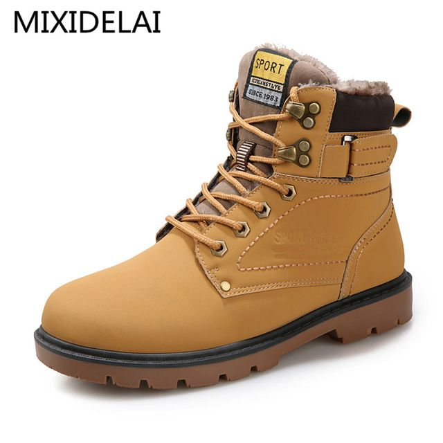 Cheapest Price $22.82, Buy Warm Men's Winter Pu Leather Ankle Boots Men Autumn Waterproof Snow Boots Leisure Martin Autumn Boots Shoes Mens