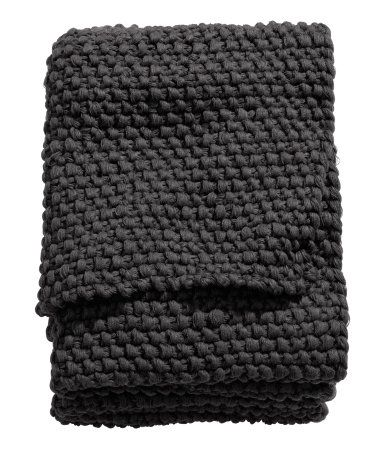 Moss-knit Throw | Charcoal gray | Home | H&M US