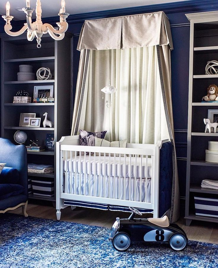 Love how @rockabyemommy incorporated a custom canopy to her design.  Not only is this a beautiful focal point, but also adds drama and contrast to the nursery... - Home Decor For Kids And Interior Design Ideas for Children, Toddler Room Ideas For Boys And Girls