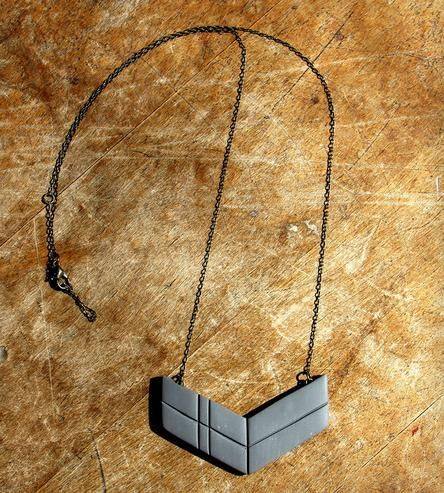 Chevron Arrow Pendant Necklace - Grey  by Sloan + Tommy on Scoutmob Shoppe