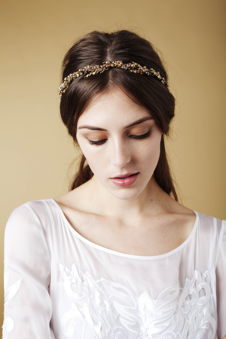 Alexandria Tiara by Jennifer Behr :: headwrap :: hair :: beauty :: gold :: chain :: vintage :: bride :: wedding :: bridal :: pearls :: crystal