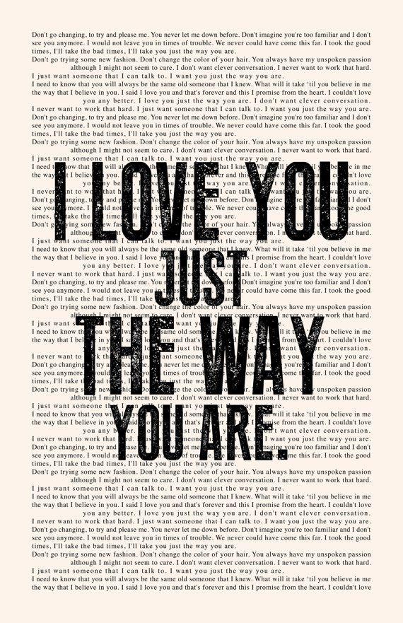 Just the Way You Are Lyrics Book Page - Billy Joel Lyrics Poster print, studio…