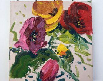 Bloemen schilderij kleurrijke kunst moderne door KikArtPaintings